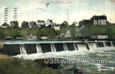 The Dam - Milwaukee River, Wisconsin WI Postcard