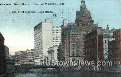 Marshall Ilsley, First National Bank Building - Milwaukee River, Wisconsin WI Postcard