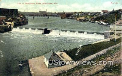 Dam, Milwaukee River - Wisconsin WI Postcard