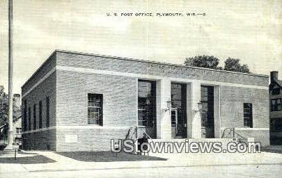 US Post Office - Plymouth, Wisconsin WI Postcard