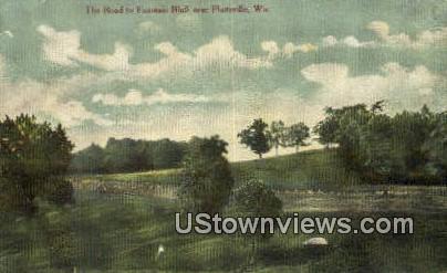 Road to Fountain Bluff - Platteville, Wisconsin WI Postcard