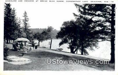 Shoreline, Oconomoqoc Lake - Okauchee, Wisconsin WI Postcard
