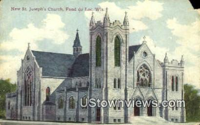 New St Joseph's Church - Fond du Lac, Wisconsin WI Postcard