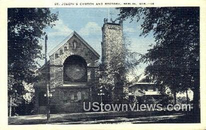 St Joseph's Church & Rectory - Berlin, Wisconsin WI Postcard