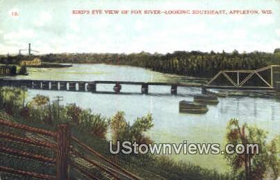 Fox River - Appleton, Wisconsin WI Postcard