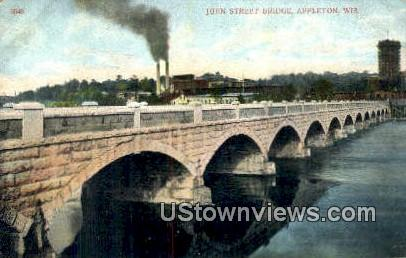 John Street Bridge - Appleton, Wisconsin WI Postcard