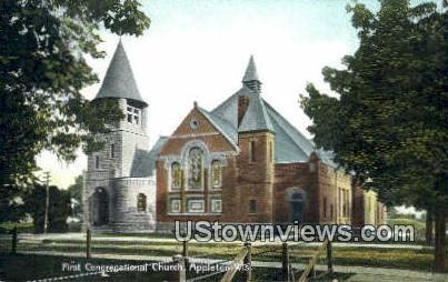 First Congregational Church - Appleton, Wisconsin WI Postcard