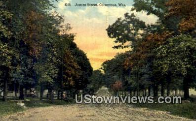 James Street - Columbus, Wisconsin WI Postcard