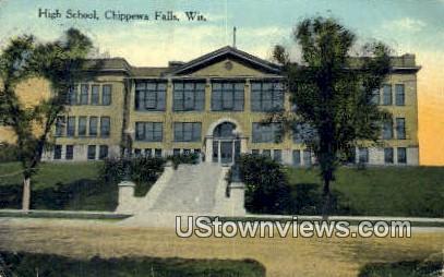 High School, Chippewa Falls - Wisconsin WI Postcard