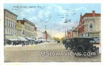 College Ave - Appleton, Wisconsin WI Postcard