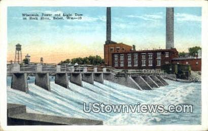 Wisconsin Power & Light Dam - Beloit Postcard