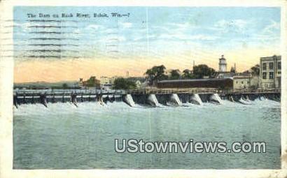 Dam on Rock River - Beloit, Wisconsin WI Postcard