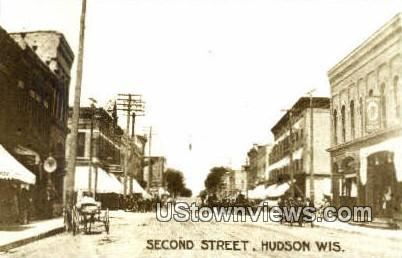 Reproduction Second Street - Hudson, Wisconsin WI Postcard
