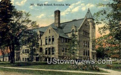 High School, Kenosha - Wisconsin WI Postcard