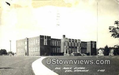 Real Photo - Kiel Public School - Wisconsin WI Postcard