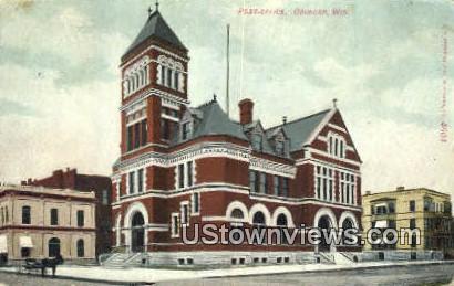 Post Offcie - Oshkosh, Wisconsin WI Postcard