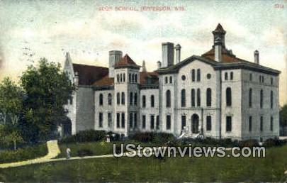 High School, Jefferson - Wisconsin WI Postcard