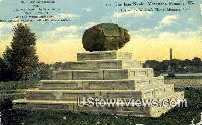 Jean Nicolet Monument - Menasha, Wisconsin WI Postcard