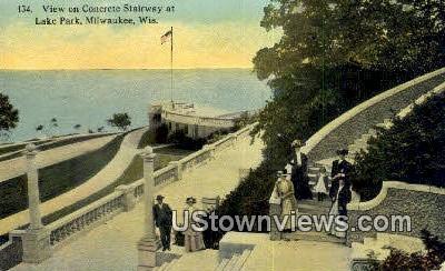 Concrete Stairway, Lake Park - MIlwaukee, Wisconsin WI Postcard