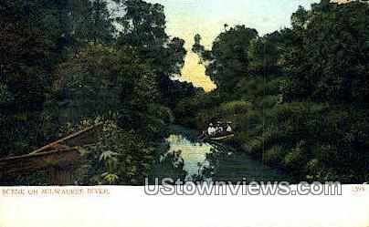 Milwaukee River, Wisconsin,     ;     Milwaukee River, WI Postcard