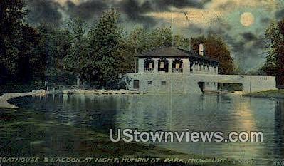 Boathouse & Lagoon, Humboldt Park - MIlwaukee, Wisconsin WI Postcard