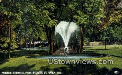 Fountain, Browers Park - Praire Du Chien, Wisconsin WI Postcard