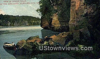 Lower Dells - Kilbourn City, Wisconsin WI Postcard