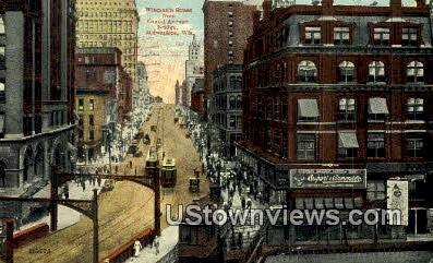Wisconsin Street, Grand Ave Bridge - MIlwaukee Postcard