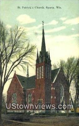 St Patrick's Church - Sparta, Wisconsin WI Postcard