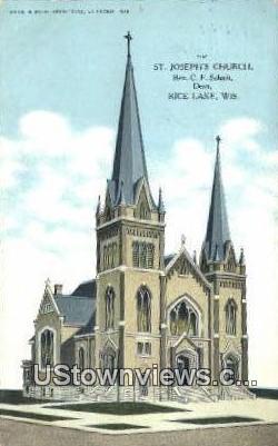 St. Joseph's Church - Rice Lake, Wisconsin WI Postcard