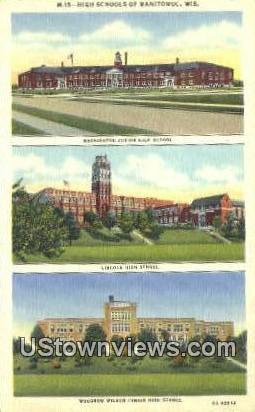 Washington Junior School - Manitowoc, Wisconsin WI Postcard