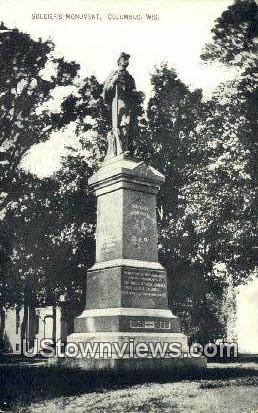 Soldier's Monument - Columbus, Wisconsin WI Postcard
