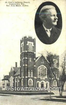 St Paul's Lutheran Church - Oconomowoc, Wisconsin WI Postcard