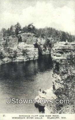 Romance Cliff & High Rock - Kilbourn, Wisconsin WI Postcard