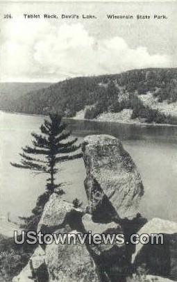 Tablet Rock, Devil's Lake - Wisconsin State Park Postcards, Wisconsin WI Postcard