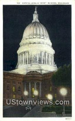 Capitol Dome - Madison, Wisconsin WI Postcard