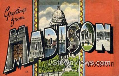 Madison, WI,     ;     Madison, Wisconsin Postcard