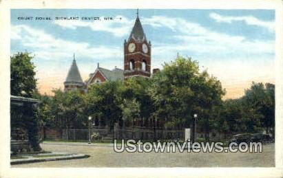 Court House - Richland Center, Wisconsin WI Postcard
