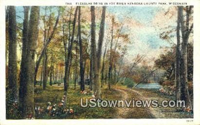 Pleasure Drive, Fox River - Kenosha County Park, Wisconsin WI Postcard
