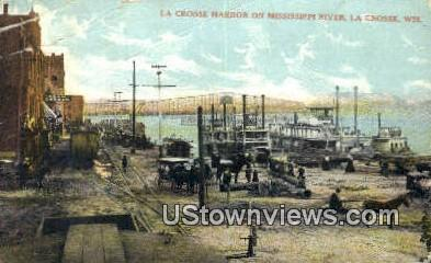 Crosse Harbor, Mississippi River - La Crosse, Wisconsin WI Postcard