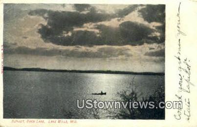 Sunset, Rock Lake - Lake Mills, Wisconsin WI Postcard