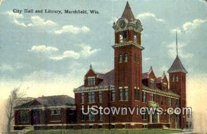 City Hall & Library - Marshfield, Wisconsin WI Postcard