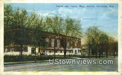 Senior & Junior High School - Marinette, Wisconsin WI Postcard