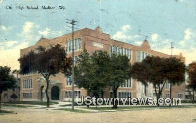 High School, Madison - Wisconsin WI Postcard