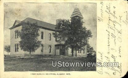 High School Building - Albany, Wisconsin WI Postcard
