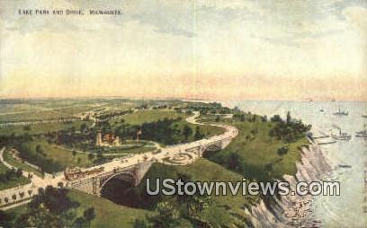 Lake Park & Drive - MIlwaukee, Wisconsin WI Postcard