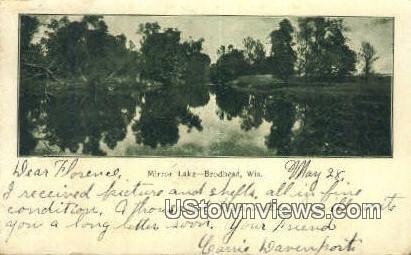 Mirror Lake - Brodhead, Wisconsin WI Postcard