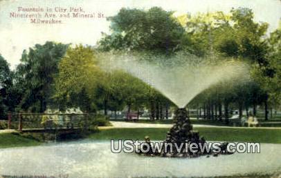 Fountain in City Park - MIlwaukee, Wisconsin WI Postcard