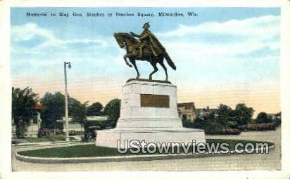 Memorial to Maj Gen Steuben - MIlwaukee, Wisconsin WI Postcard