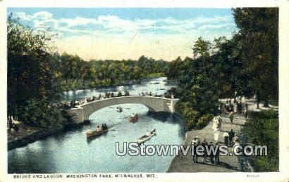 Bridge & Lagoon, Washington Park - MIlwaukee, Wisconsin WI Postcard